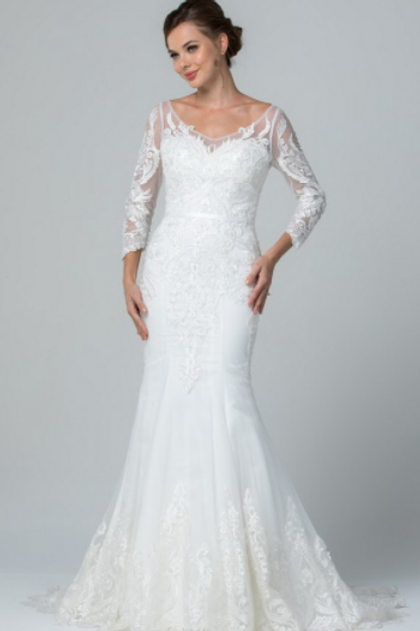 Mignon Manley Embroidered Long Sleeve Bridal Dress