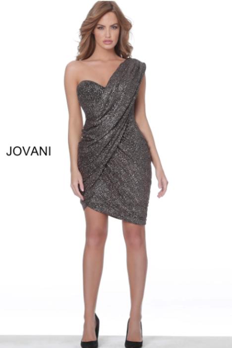 Jovani 04922 Black Rose Gold One Shoulder Short Dress