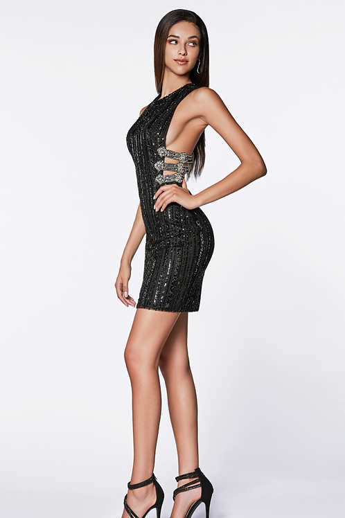 Short Beaded Dress WR razor Back & Strappy Side
