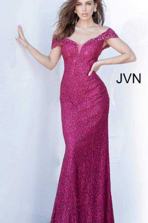 JVN02434 Off the Shoulder Embellished Evening Dress