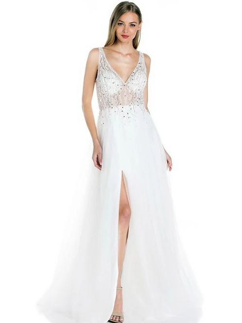 Off White V-Neck Beaded Seequin A-Line Gown
