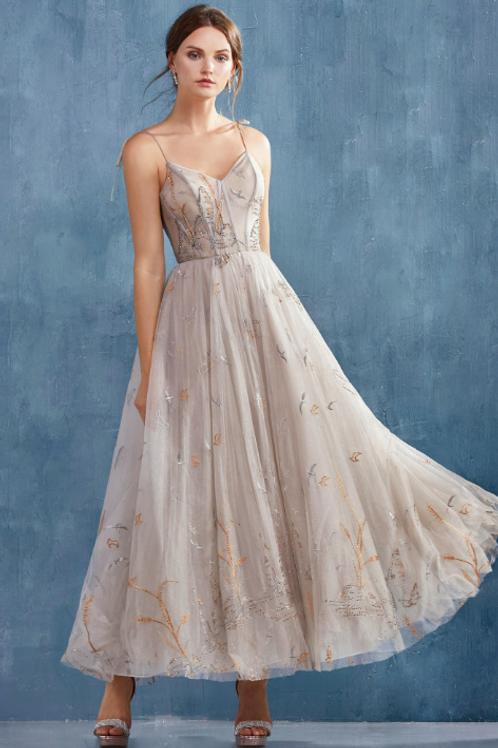 ANDREA & LEO Emilia Birds Embroidered Tea Length Dress