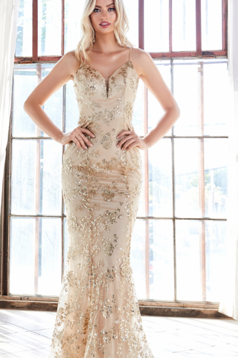 Fitted gown with glitter floral print and sweetheart neckline.