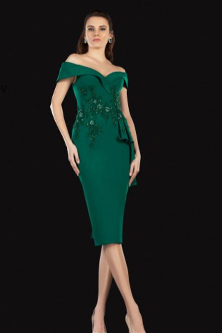 TERANI COUTURE Off Shoulder Ruffle Accented Sheath Dress