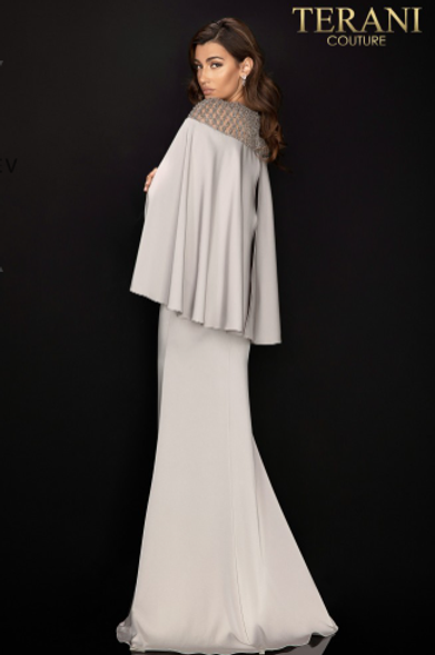 TERANI COUTURE Beaded Long Sleeve Gown With Cape