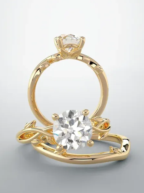 14K Yellow 7.4 mm Round Solitaire Moissanite Diamond Engagement Ring