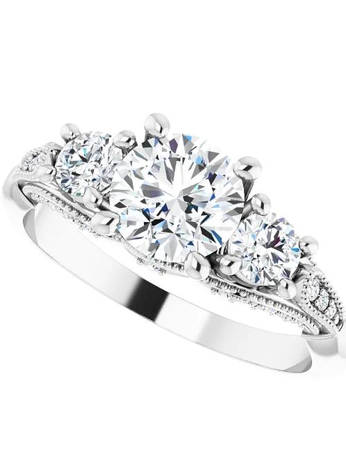 Three Stones Diamond 14K White 6.5 mm Round 3/8 CTW EngagementRing
