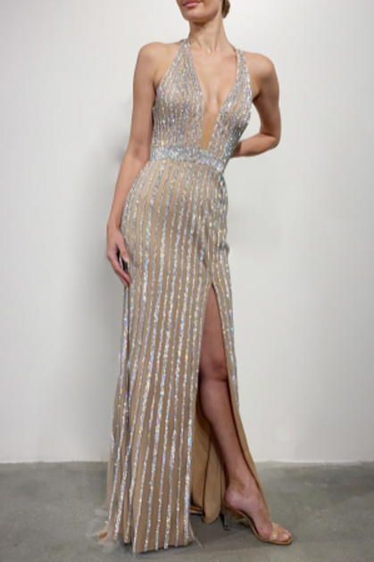 Terani Couture Crepe Embellished Gown