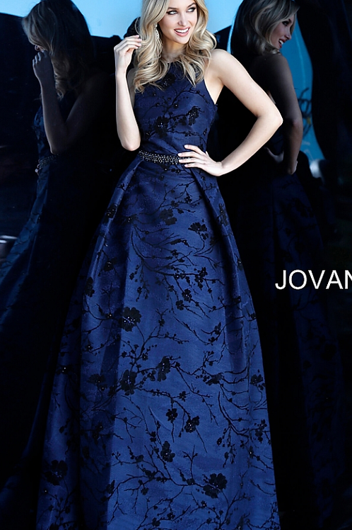 JOVANI Navy Floral Embroidered Sleeveless Evening Gown 66103