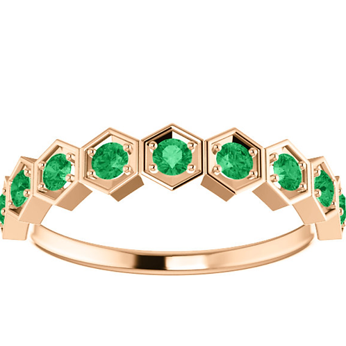 14K Rose Emerald Stackable Ring