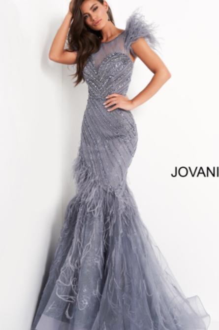 Jovani 04702 Ink Feather Embellished Evening Dress