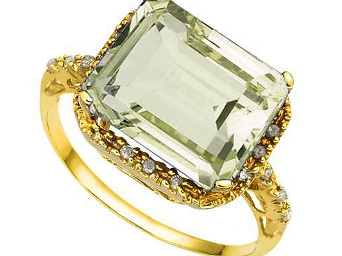 5.02 Carat Amethyst & Diamond 18K Solid Solid Yellow Gold Ring