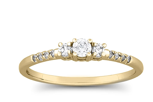 Mignon Manleys Quarter Carat Diamond 3-Stone Ring in Gold