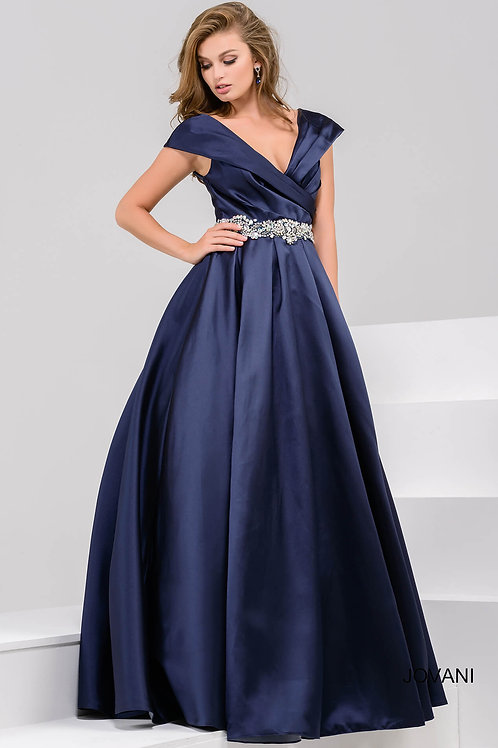 Navy Off the Shoulder Pleated Evening Ballgown 25190