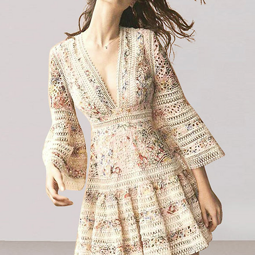 Flair Sleeves Knitted Dress