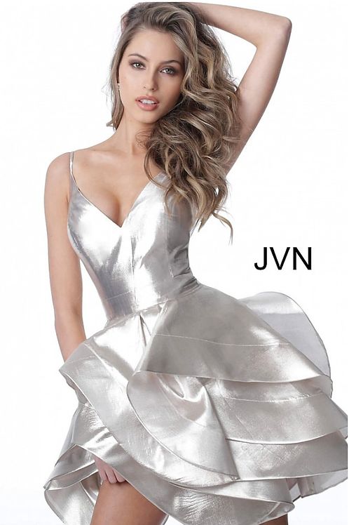 JVN2386 Champagne V Neck Layered Skirt Cocktail Dress