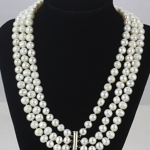 Three Strands8-9mm Freshwater Pearl Necklace