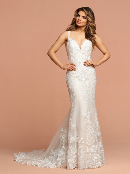 Lace & Tulle Fit & Flare Bridal Gown with Deep V-Neckline