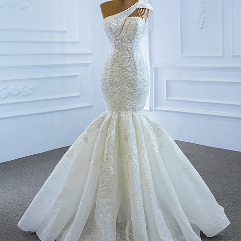 Mignon Manley Couture Strapless Beaded Lace Bridal Gown