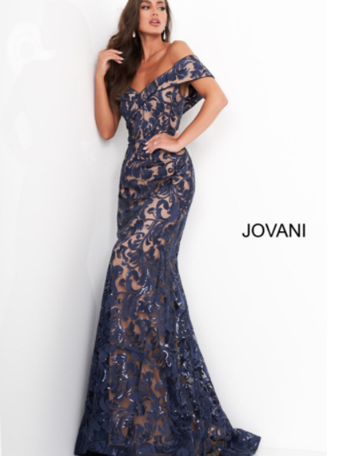 Jovani 02912 Navy Lace Off the Shoulder evening Gown