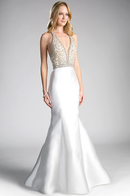 Solid Long Dress With Jewels