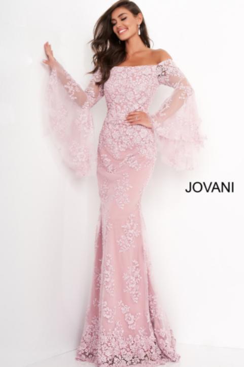 Jovani 02570 Pink Long Bell Sleeve Evening Dress