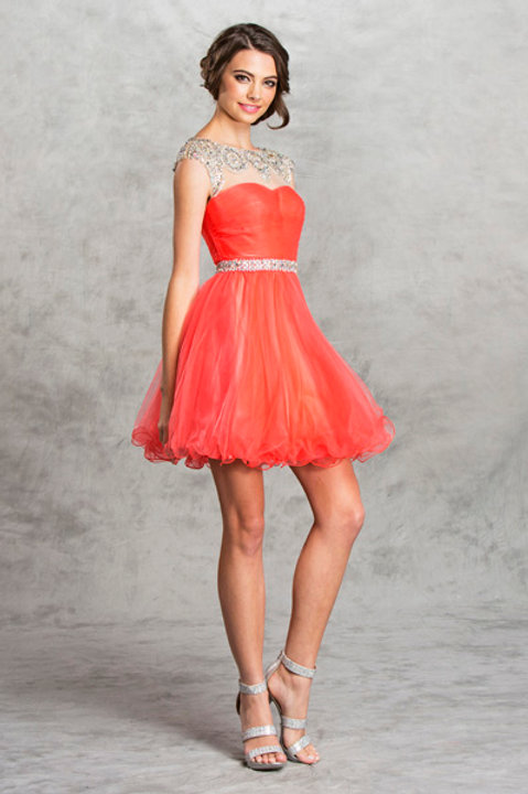 Prom/Homecoming Dress with Beaded Illusion Neckline