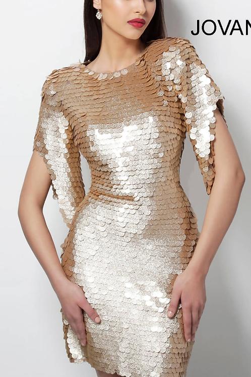 JOVANI Gold Paillette High Neck Cocktail Dress 64601