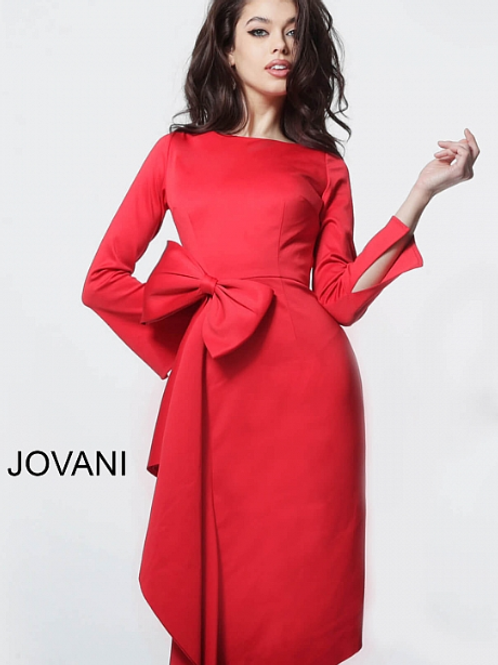 JOVANI Red Boat Neckline Long Sleeve Cocktail Dress M2694