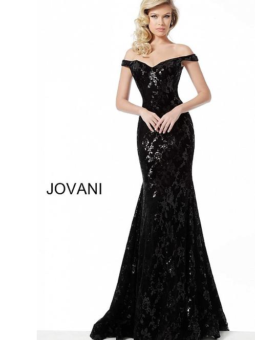 Black Off the Shoulder Embellished Velvet Evening Dress 64504