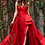 Thumbnail: Jovani Red sweetheart Neck High Slit Couture Dress 61291