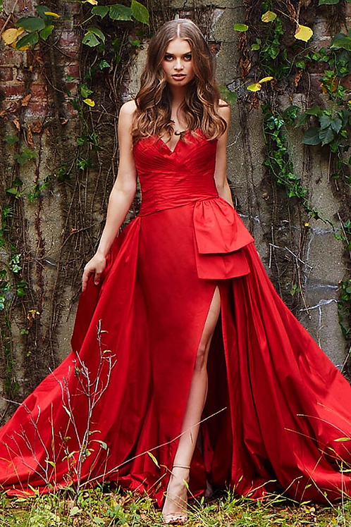 Jovani Red sweetheart Neck High Slit Couture Dress 61291