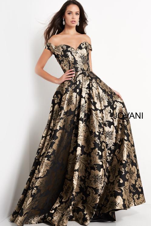 Jovani 03942 Black Gold Off the Shoulder A Line Evening Gown