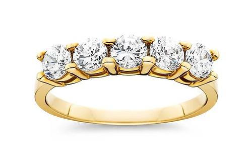 1 CT Five Stones Round Brilliant Cut Natural Diamond Ring