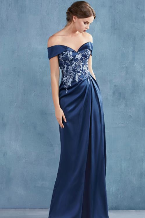 ANDREA & LEO RENA Off Shoulder Embroidered Bodice Satin Gown W Slit