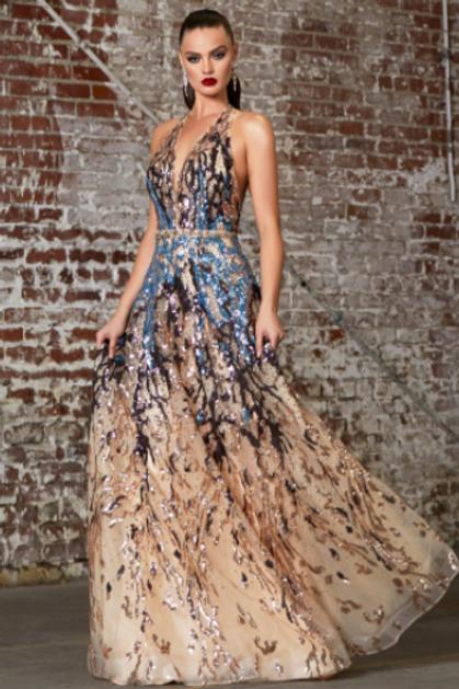 CINDERELLA DIVINE A-line Halter NecklineLayered Sequin Print Dress