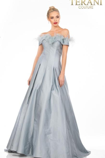Terani Satin Gown W/Feather Embellished Neckline