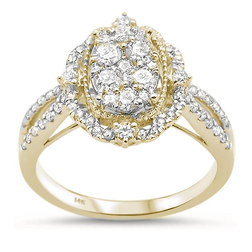 .92ct 14k Yellow Gold Oval Shape Diamond Engagement Ring