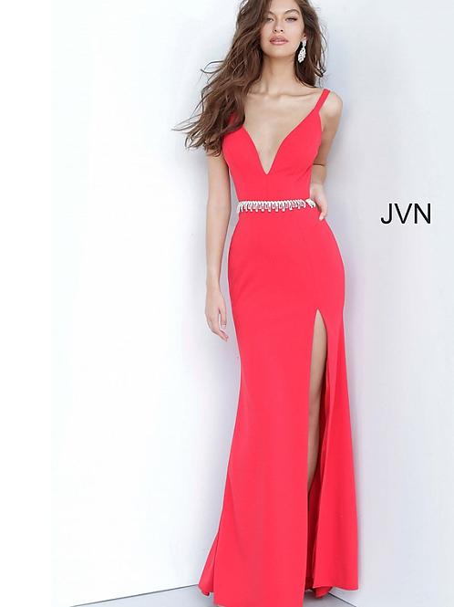 JOVANI Red Low V Neck Embellished Belt Prom DressJVN02712