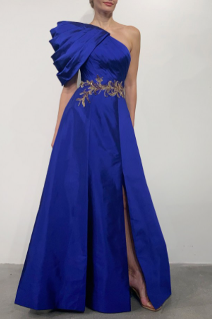 Terani Couture Cap One Sleeve Blue Satin Embellished Waist