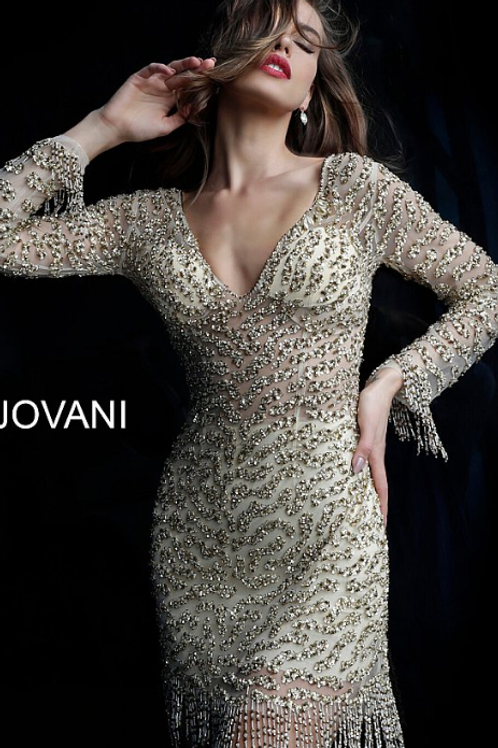 JOVANI Gold Fully Embellished Long Sleeve Cocktail Dress   61784