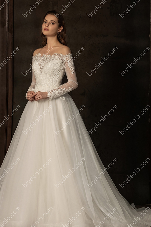 Illusion Sleeved Beaded Lace A-line Wedding Dress