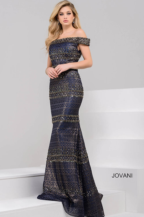 Navy and Gold off the Shoulder Beaded Long Dress 40872