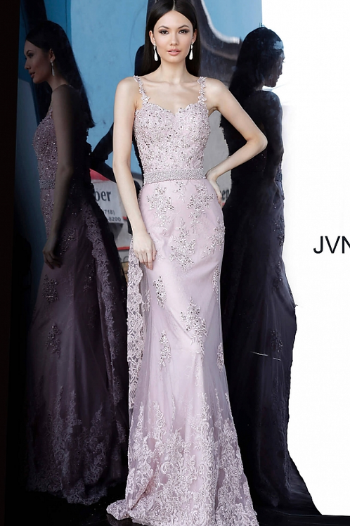JOVANI JVN2444 Dusty Rose Embroidered Sweetheart Neck Evening Dress