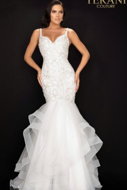 TERANI COUTURE - 2011P1146 FloralBeadedTieredTrumpet Gown