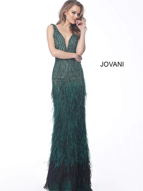 Emerald Feather Bottom Embellished Evening Gown 66003
