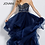 Thumbnail: Navy Tulle Strapless Embellished Bodice Evening Gown 56083