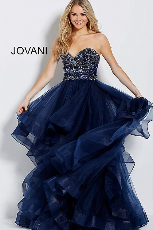 Navy Tulle Strapless Embellished Bodice Evening Gown 56083