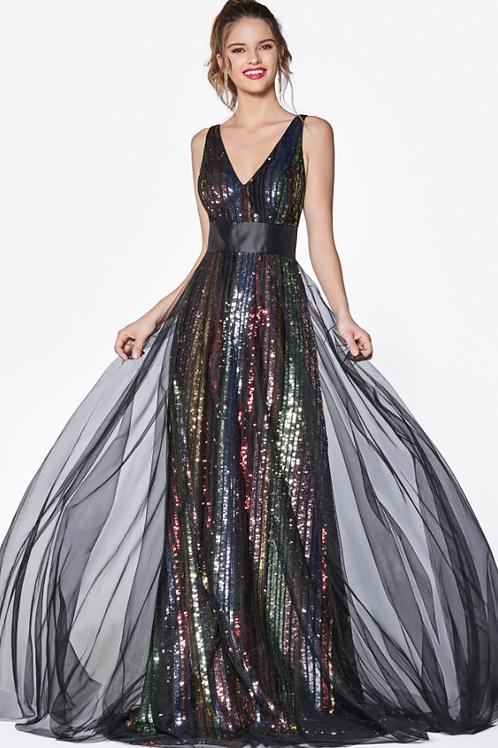 A-line v-neckline Multicolor Sequins