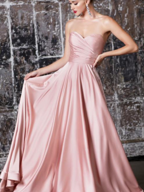 Strapless Soft Satin Gown Sweetheart Neckline